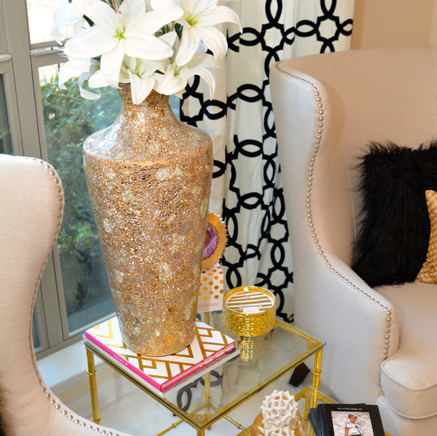 This is the shot that drew attention from Pier 1 and afforded me a feature on their website. The Gold Mosaic Vase and Flocked Geometric Curtains in the photo were all purchased from Pier 1 Imports.