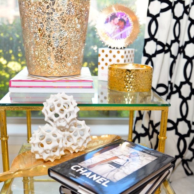 Gold Mosaic Vase and Flocked Geometric Black Grommet Curtain is from Pier 1 Imports.