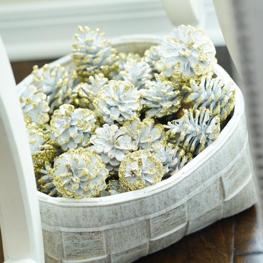 I love the gold glitter pinecones! This was truly one of my favorite features to add. These came from ZGallerie.