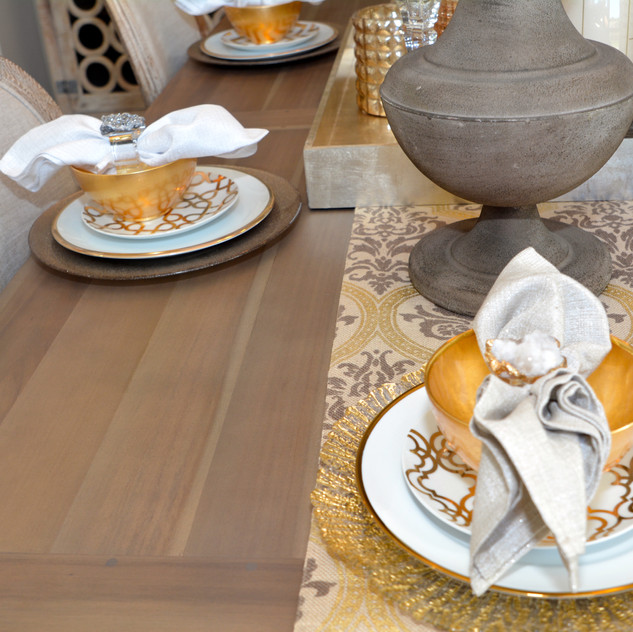 Table Runner, Gold and White Salad Plates, and all Chargers are from Pier 1 Imports
