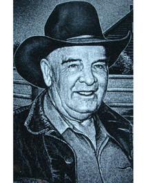 Hand-etched portrait of a cowboy