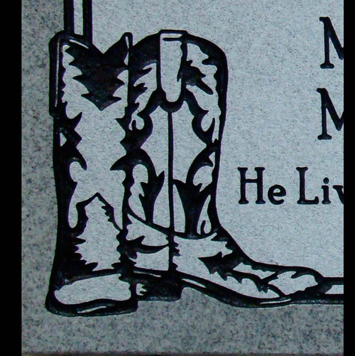 Cowboy boots on a flashed panel