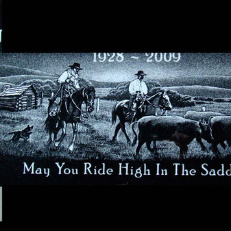 Hand-etched cowboys on the ranch