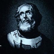 Hand-etched portrait of St. Jerome on black granite
