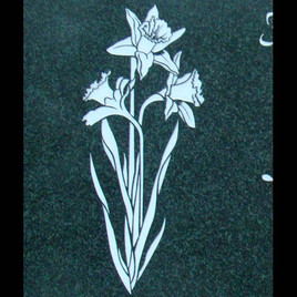 Linear graphic daffodils on evergreen granite