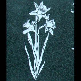 Linear graphic daffodils on evergreen granite