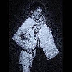 Hand-etched portrait of Terry Fox and his mother