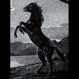 Hand-etched Black Stallion on black granite