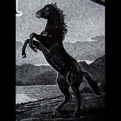 Hand-etched Black Stallion on black granite
