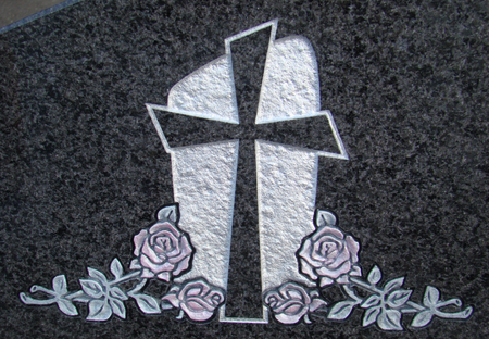 Cross, hand-sculpted pink roses on African Charcoal granite