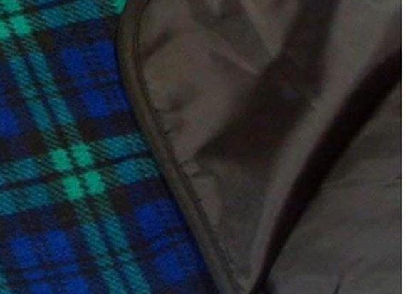 Rainproof Green & blue plaid Hip-poncho