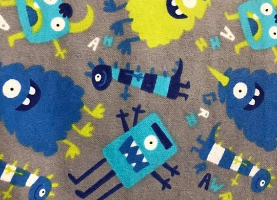 Gray, Blue Monsters  (Snuggle Flannel)