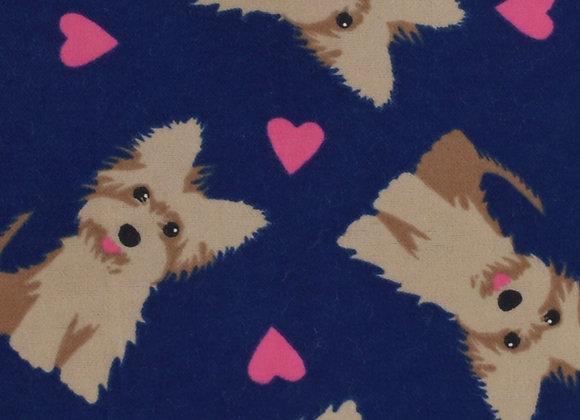 Navy heart scotties (snuggle flannel)