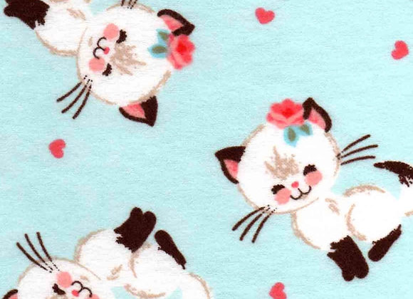 Teal & pink kitten (snuggle flannel)