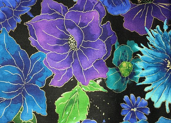 Blue purple lime green flowers