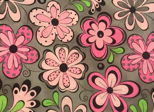 gray, pink, lime green flowers