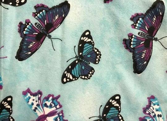 Light Blue butterflies  (snuggle flannel)