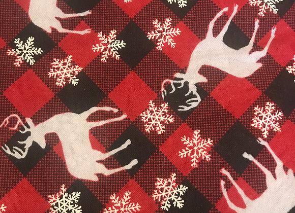 Winter red plaid deer (snuggle flannel)