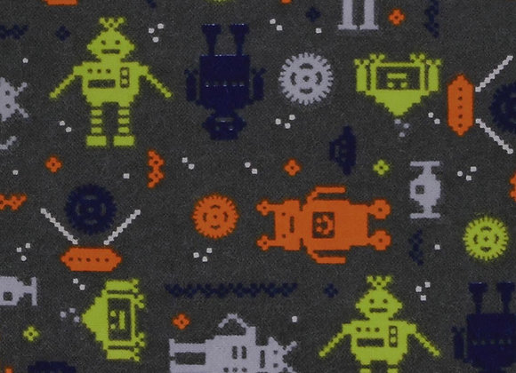 Gray, navy, orange robots  (Snuggle Flannel)