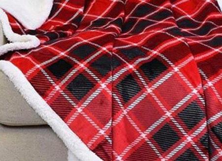 Red, black, white plaid Hip-poncho