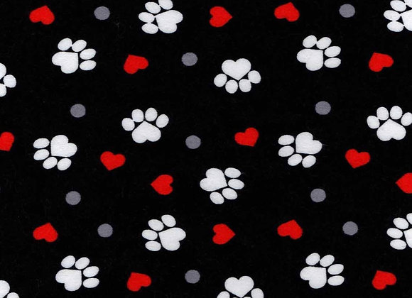 blk & red paw prints (Snuggle Flannel)