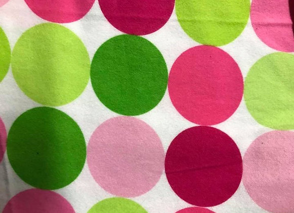 Pink and Green large dots  (snuggle flannel)