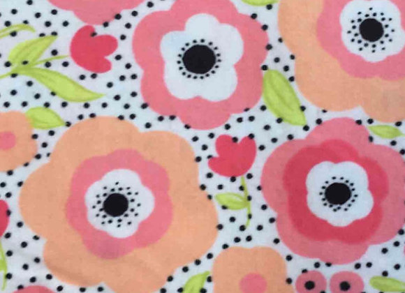 Coral daisy flowers (snuggle flannel)