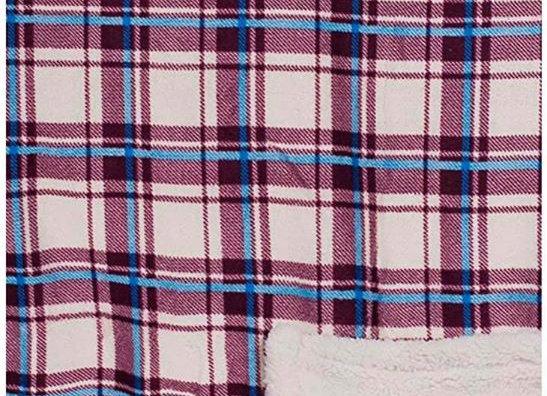 Pink & blue plaid Hip-poncho