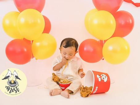 Baby Elias 1st Birthday Styled Shoot | 02.13.20 | Jollibee Smash | Cake Smash | In-Studio