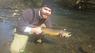 Andrew Allender catches a beautiful brown on the Little Juniata River.