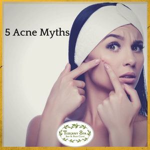 woman with acne pimple title 5 acne myths