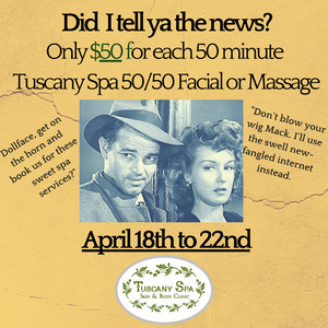 Old time stars chatting about Tuscany Spa 50/50 April Special