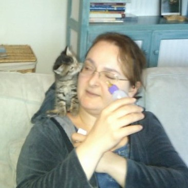 striped kitten sitting on michelles shoulder and sniffing her glasses, michelle holding small bottle of kitten and peering at the kitten