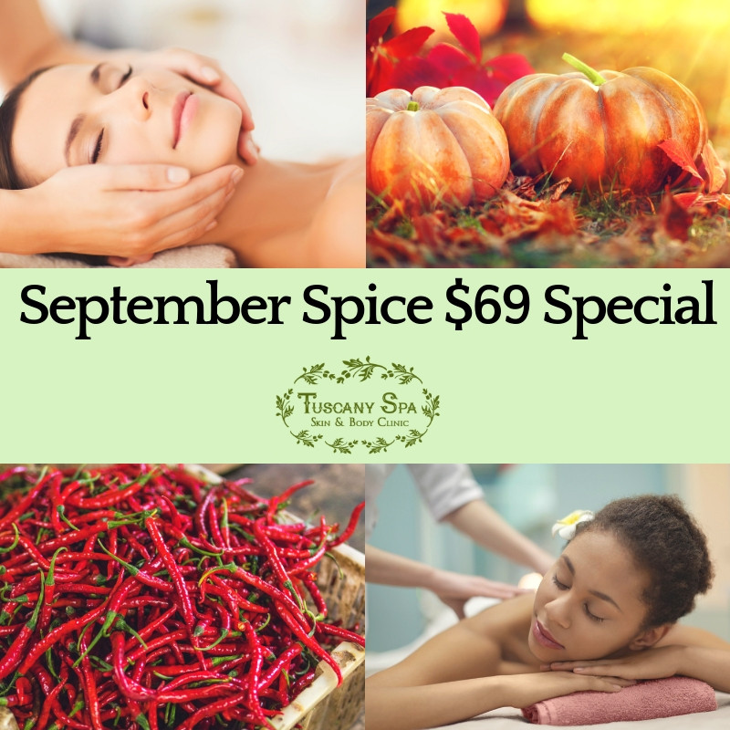 collage of pumpkin, spice, facial and massage