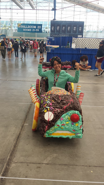girl in candy car