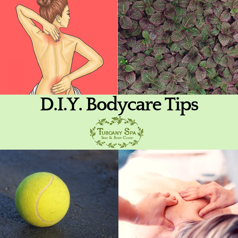 collage for diy body care tips with tennis ball, woman wiht back pain, body massage