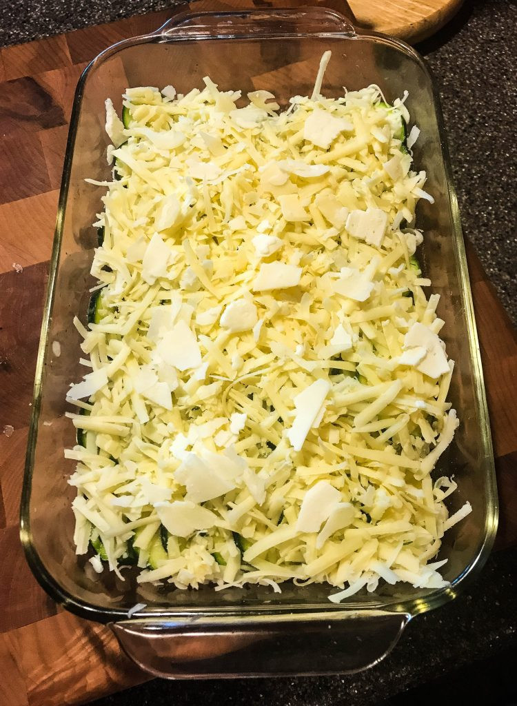 Cheezy Zucchini before it is baked