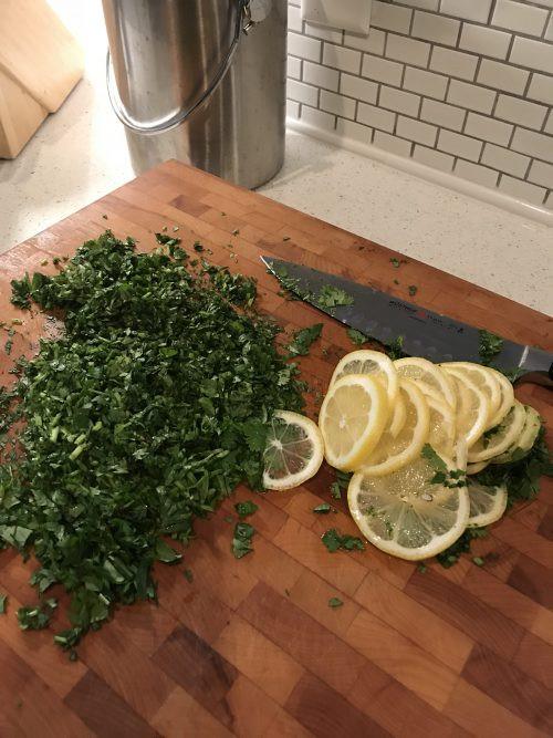 Chopped Cilantro and lemons