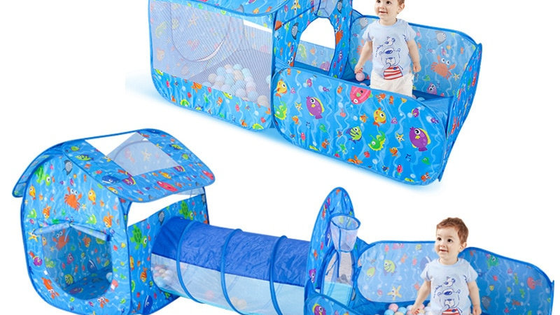 Foldable Baby Indoor and Outdoor Crawling Tunnel, Play House, Ball Pit.