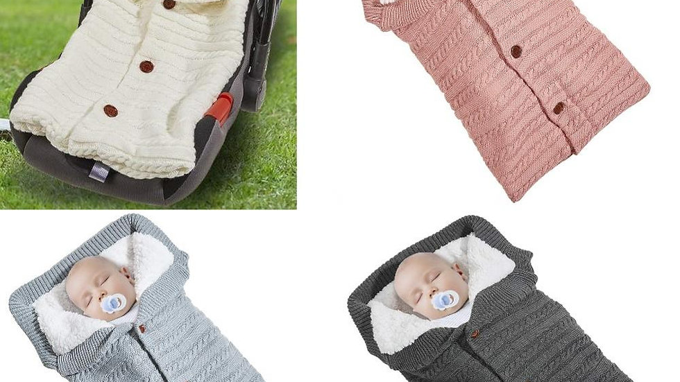 Newborn Baby Warm Sleeping Bags for Girls Infant Button Knitted