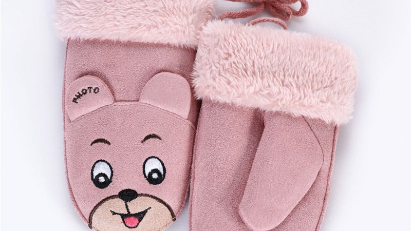 Faux Suede Bear Mittens