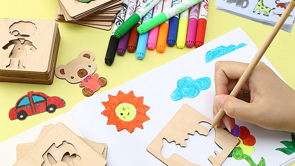 Children  Educational Creative Doodle Drawing Wooden Toys