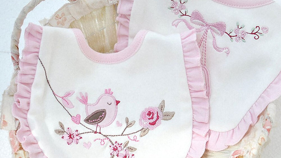 Cute Baby Bibs Cotton Pink Embroidered