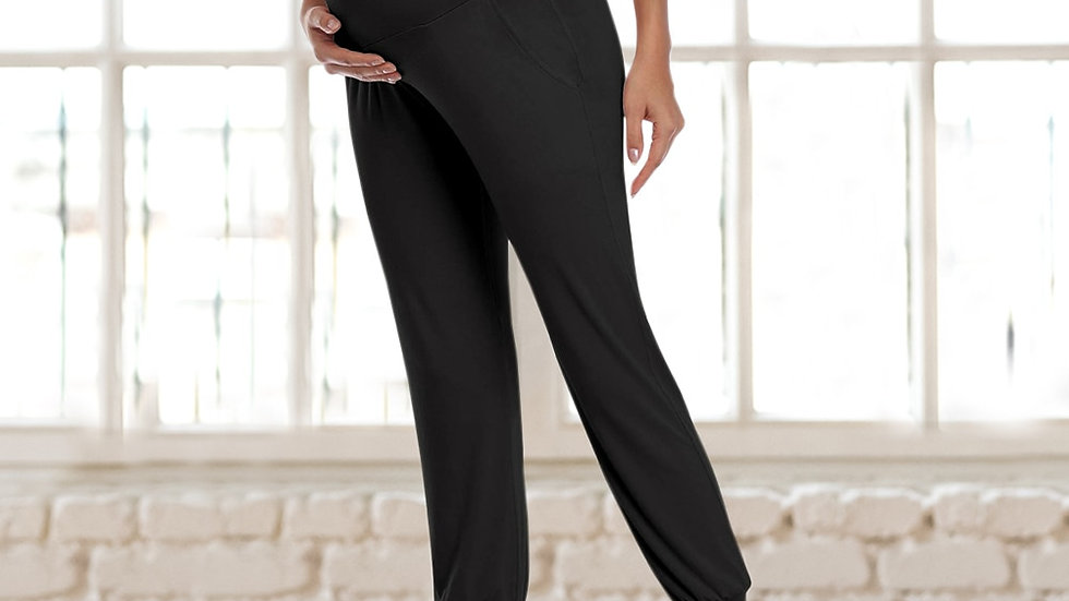 Maternity Comfortable Stretchy Trousers With Pocket,  Cotton High Waist