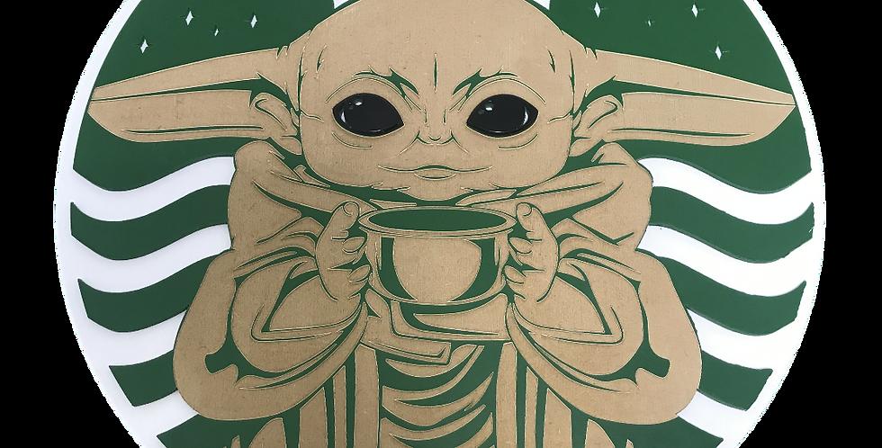 Quadro Decorativo Baby Yoda Coffee