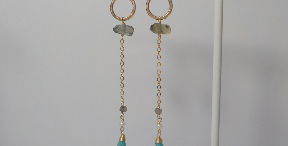 "3"" Labradorite and Chrysophase Earrings"