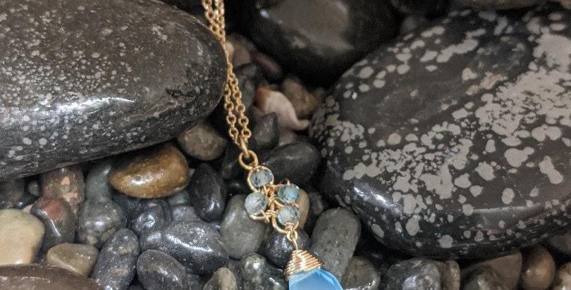 Aqua Chalcedony Necklace
