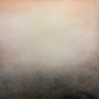 """a visible uncertainty, rosy peach, 30x30"""" oil on canvas unframed"""