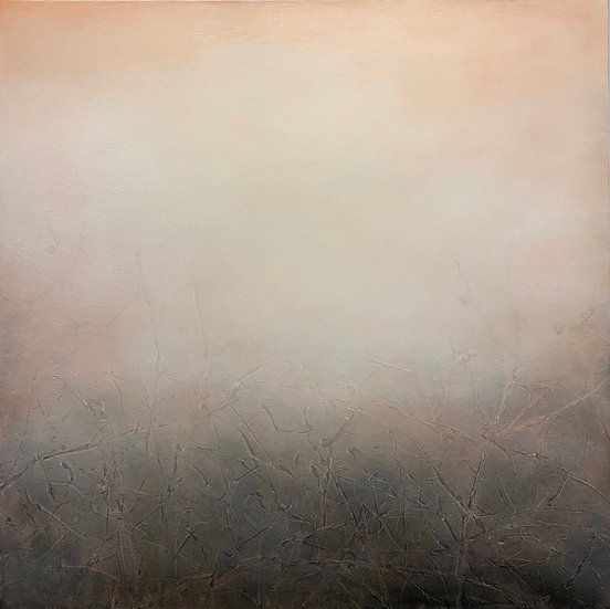 "a visible uncertainty, rosy peach, 30x30"" oil on canvas unframed"