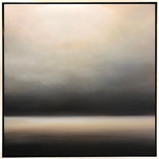 "dawn, 18x18"" oil on canvas, framed in maple floater frame"